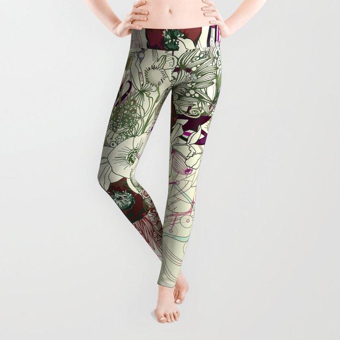 Zentangle Floral mix II Leggings