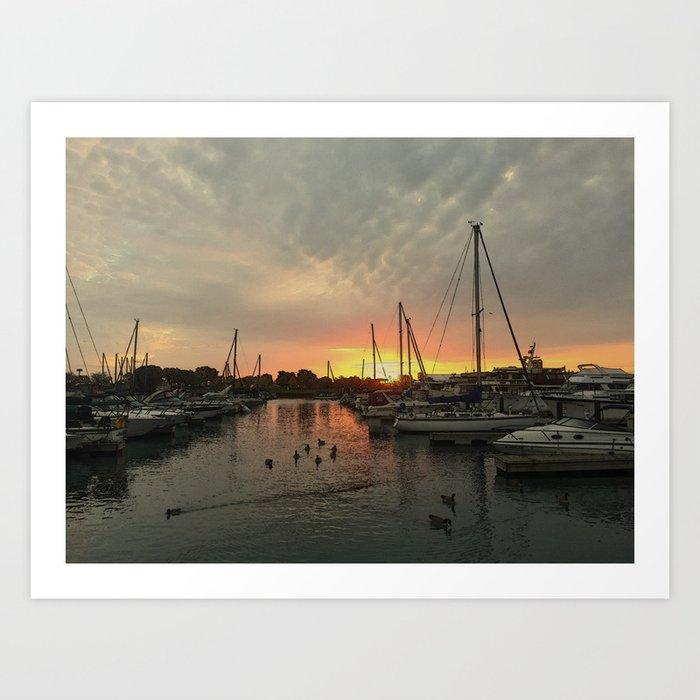 Sunrise on Lake Michigan #3 Art Print