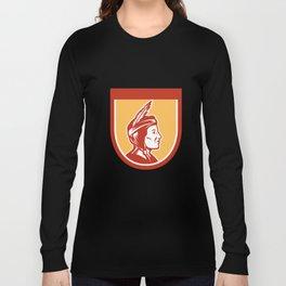 Native American Indian Chief Shield Retro Long Sleeve T-shirt