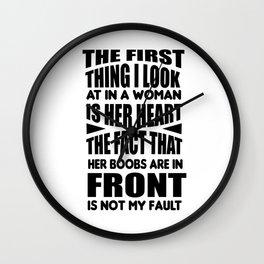 Breasts tits heart sarcasm stupid joke gift Wall Clock