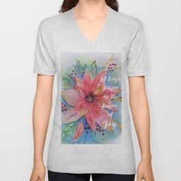 "Pretty watercolor poinsettia ""Let every season be the season of joy"" quote Unisex V-Neck"