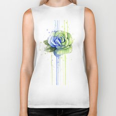 Flower Rose Watercolor Painting 12th Man Art Biker Tank