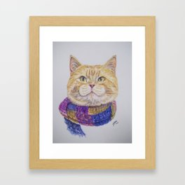 Yellow Cat with Scarf Framed Art Print