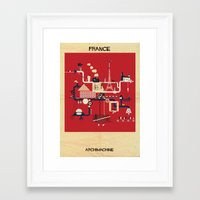 france Framed Art Prints featuring France by federico babina