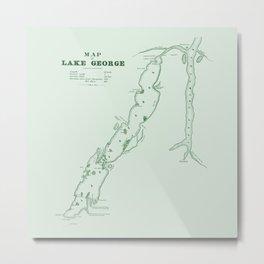 1853 Map of Lake George (green) Metal Print