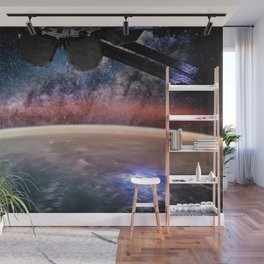 Space Station Night View of Planet Earth surface with Milky Way in background Wall Mural