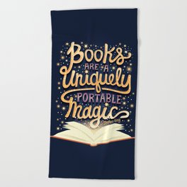Books are magic Beach Towel