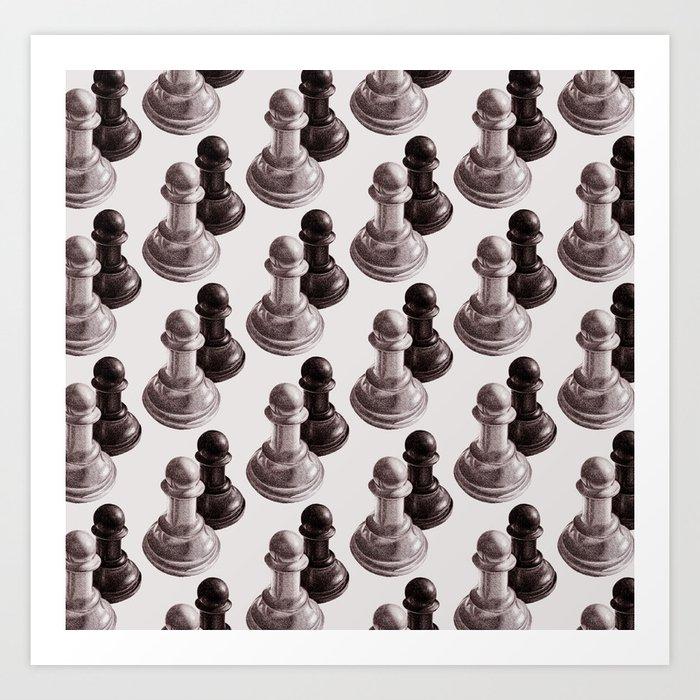 Chess Pawns Pattern Art Print