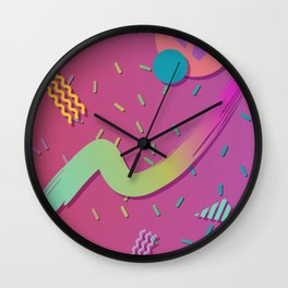 90s Throwback - Vaporwave for the Eyes Wall Clock