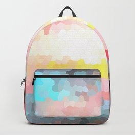 Pink, blue, orange mosaic stained glass background Backpack