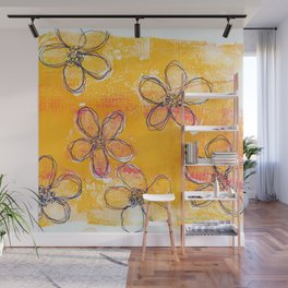 Sketchy Flower Sunset Wall Mural