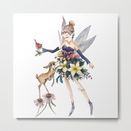 Watercolor Fairy - Winter Indigo Metal Print