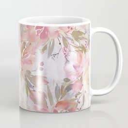 Modern blush pink ivory botanical watercolor floral Coffee Mug
