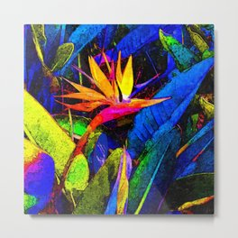 Colorful Bird of Paradise Flower and Leaves Metal Print