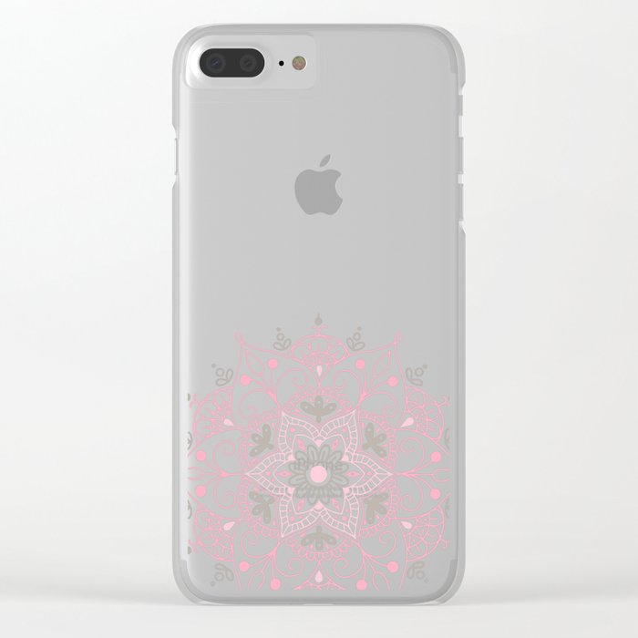 Mandala_Rose-Warm Gray Clear iPhone Case