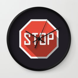 "Road sign ""Stop"" in flat design modern illustration with long shadow effect Wall Clock"