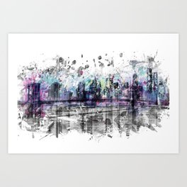Modern Art NEW YORK CITY Skyline   Splashes Art Print