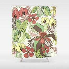 Tropical flowers and leaves. Orchids and hibiscuses. Shower Curtain