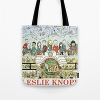 parks and recreation Tote Bags featuring Leslie Knope for City Council - Parks and Recreation Dept. by Jasey Crowl