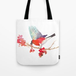 Bullfinch bird with ashberry Tote Bag