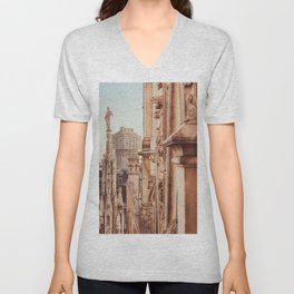 Milan photography, Duomo di Milano, Milan Cathedral, Torre Velasca, architecture photo, skyscraper Unisex V-Neck