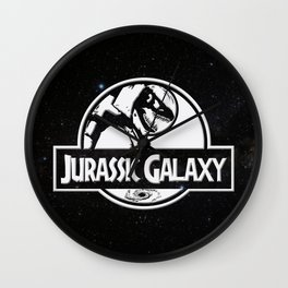 Jurassic Galaxy - White Wall Clock