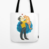 data Tote Bags featuring Data Hug by Super Group Hugs