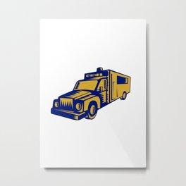 Ambulance Emergency Vehicle Truck Woodcut Metal Print