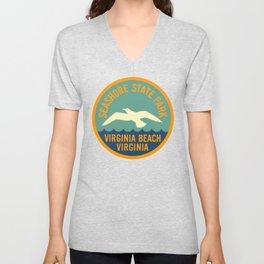 Seashore State Park Virginia Beach Camping Seagull Vintage Unisex V-Neck