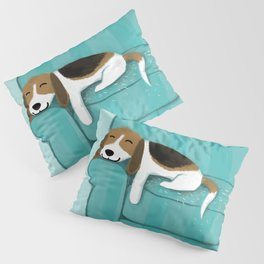 Happy Couch Beagle | Cute Sleeping Dog Pillow Sham