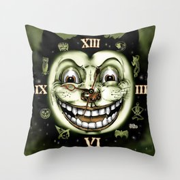 Black Cat 13 Halloween Clock Throw Pillow