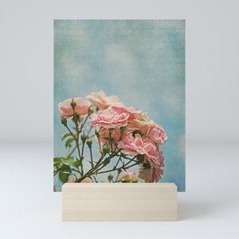 Vintage Inspired Pink Roses in Pastel Blue Sky with French Script Mini Art Print