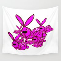 bunnies Wall Tapestries featuring Bunnies by Christa Bethune Smith