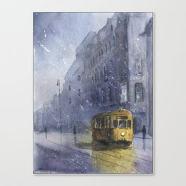 An old yellow tram Canvas Print