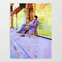 Two old men sitting in the street Poster