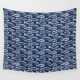 Fish // Navy Blue Wall Tapestry
