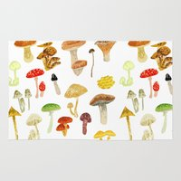 mushrooms Area & Throw Rugs featuring Mushrooms by Lara Paulussen