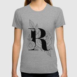 Monogram Letter R with Rose Line Art  T-shirt