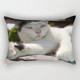 Black and White Bicolor Cat Lounging on A Park Bench Rectangular Pillow