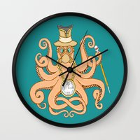 steam punk Wall Clocks featuring Steam Punk Octopus by J&C Creations