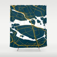 sweden Shower Curtains featuring Stockholm Sweden Map by Studio Tesouro
