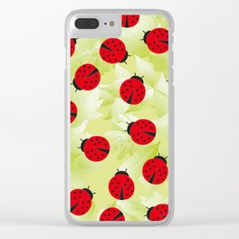 Ladybugs and leaves nature print Clear iPhone Case