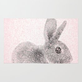 Rabbit in pink and gray, Baby Animal mosaic Rug