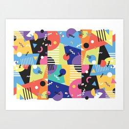 Colourful Memphis Block Design Art Print