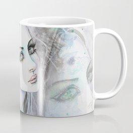 Green Eyed Ghost Modern Art Woman Illustration by Molly Harrison Coffee Mug