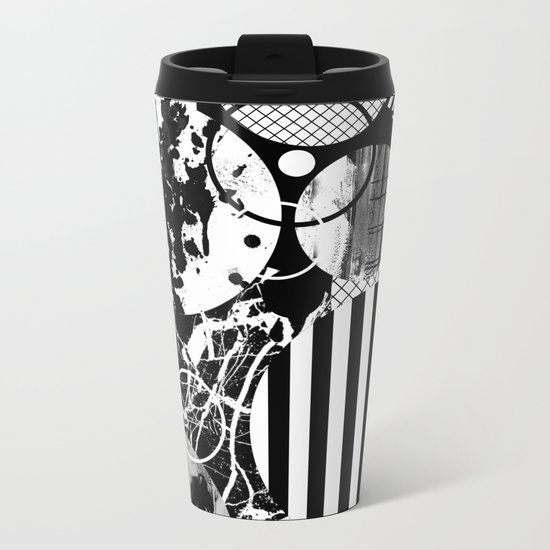Black And White Choas - Mutli Patterned Multi Textured Abstract Metal Travel Mug