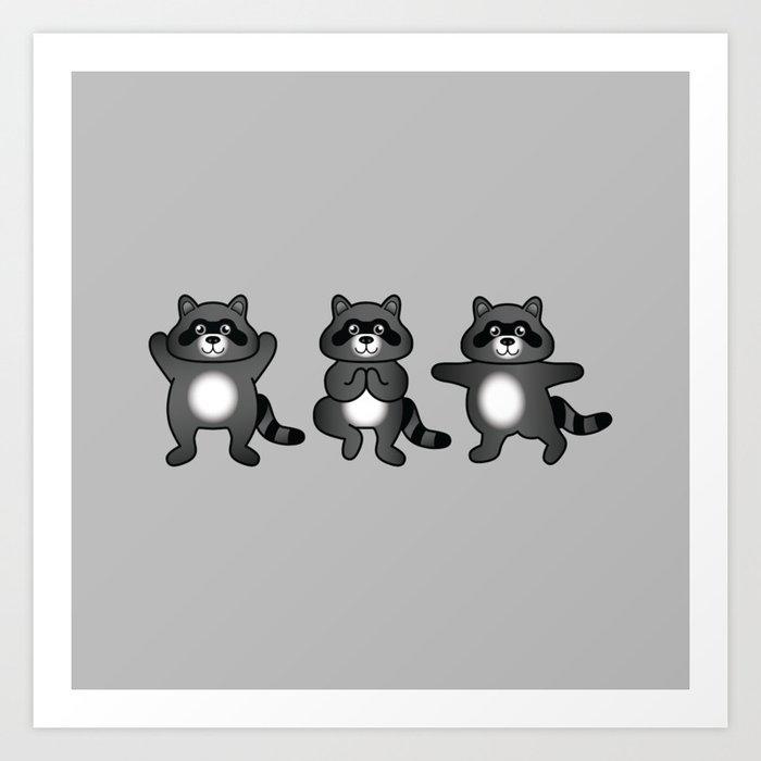 Cute Cartoon Raccoons Practising Yoga Poses Art Print By Destei Society6