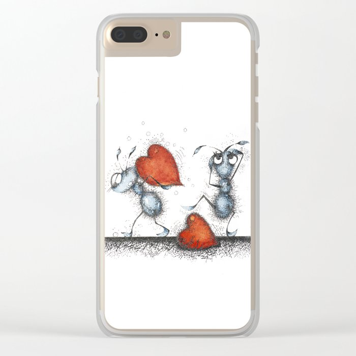 Two ants with hearts Clear iPhone Case