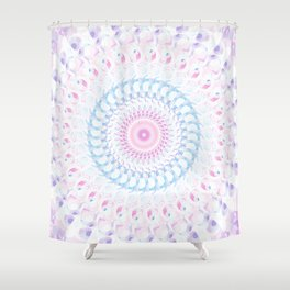 Pastel Wave Mandala in Pale Pink, White, and Lilac Shower Curtain