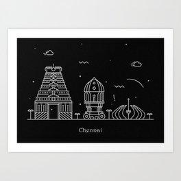 Chennai Minimal Skyline Drawing Art Print